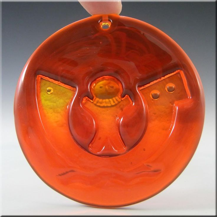 Holmegaard Michael Bang Orange Glass Noahs Arc Suncatcher - £40.00