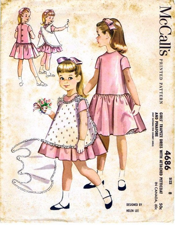 SALE 1950s McCalls 4686 Helen Lee Girls Trapeze by patternshop, $8.79