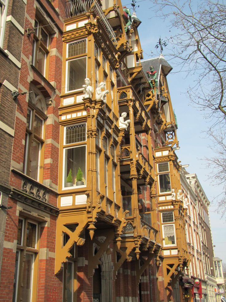 """old balcony of the """"Huis met de kabouters"""" (""""House with the gnomes"""") - built in 1884, Ceintuurbaan (close to the river the Amstel), Amsterdam"""