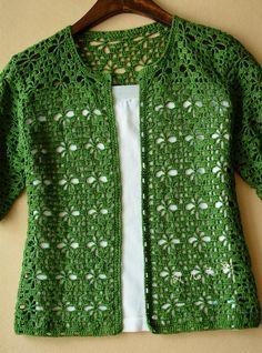 Crochet: green crochet cardigan. Diagrama •✿• Teresa Restegui http://www.pinterest.com/teretegui/ •✿•
