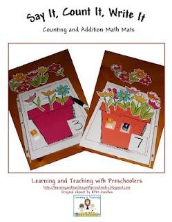 Weekly Freebie.  Flower pot Say It, Count It, Write It and a new twist addition.: Teachersnotebook Com, Teaching Preschoolers, Weekly Freebie, Preschool Math, Math Ideas, Math Mats, Flower Math