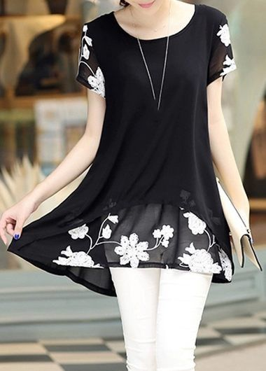 Black Short Sleeve Layered Embroidered Round Neck Blouse Outfits, new sign up 15% off, more discount at rosewe.com, check it out.