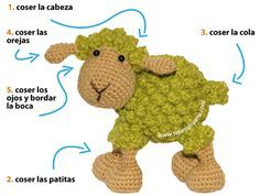 Tutorial: sheep amigurumi (crochet sheep), translates, free pattern and u tube video