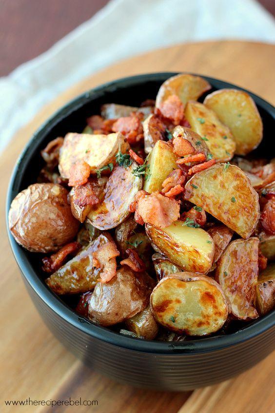 Warm Maple Bacon Potato Salad - The best kind of salad! Crispy roasted potatoes with a smoky, sweet, tangy vinaigrette.