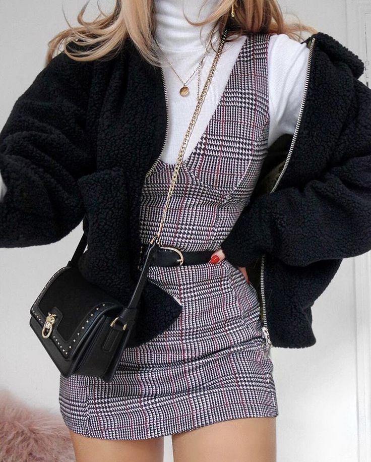 White Turtle Neck Under Grey Plaid Low Cut Dress w/ Oversized Black Sweater ❤️