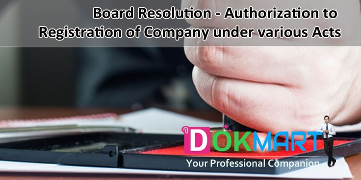 This document running into 2 pages, consist of draft Board resolution, for registration of Company under various acts, along with Preamble in editable word format making it handy for you to use and save your time and efforts