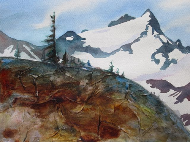 International Basin, Percell Mts., Watercolour, Collage, by Bob McQueen