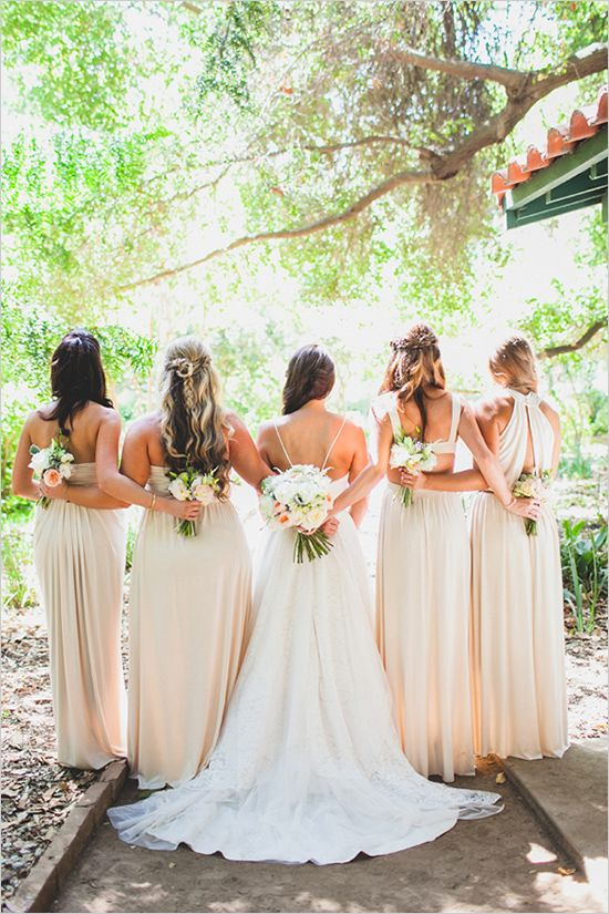 cream bridesmaid dresses @weddingchicks