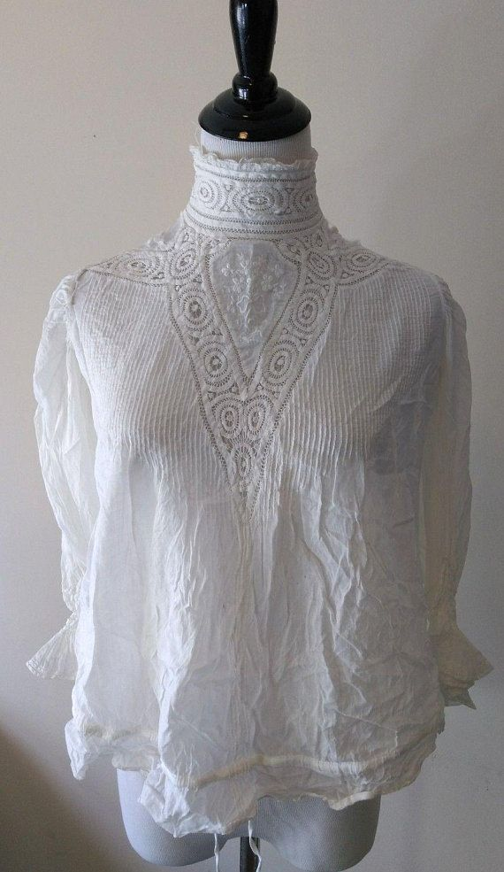 Collars & Cuffs Antique Vintage Gown Yoke Crochet Lace Edwardian Victorian Camisole Blouse
