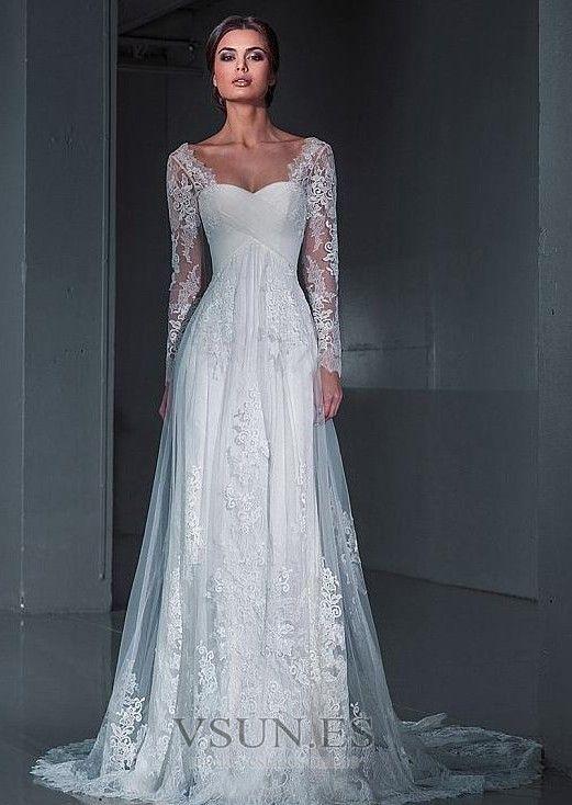 Vestido de novia largo encaje