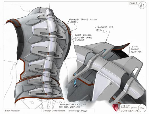 Back protector industrial - design product rendering
