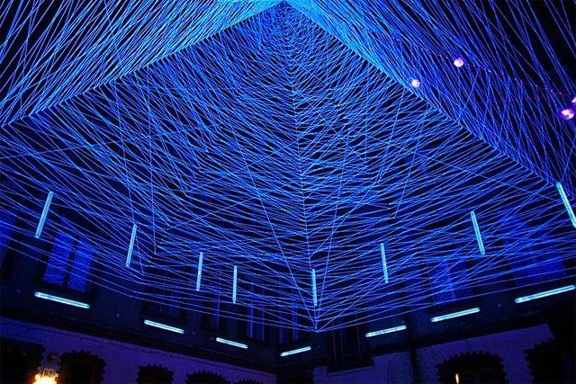 #3D UV Thread Installations by Jeongmoon Choi #event #lighting #design #art