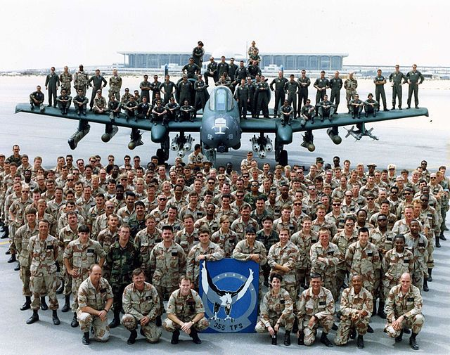 Photo of the 355th Tactical Fighter Squadron Personnel - March 1991 - King Fahd International Airport after victory in Operation Desert Storm