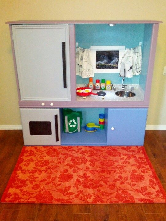 tv stand play kitchen | Upcycled TV stand made into a play kitchen | Xander
