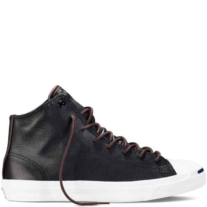 Converse – Jack Purcell Tumbled Leather -Black – High Top