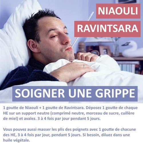 Découvrez ma recette simple pour soigner une grippe avec les huiles essentielles de niaouli et de ravintsara.