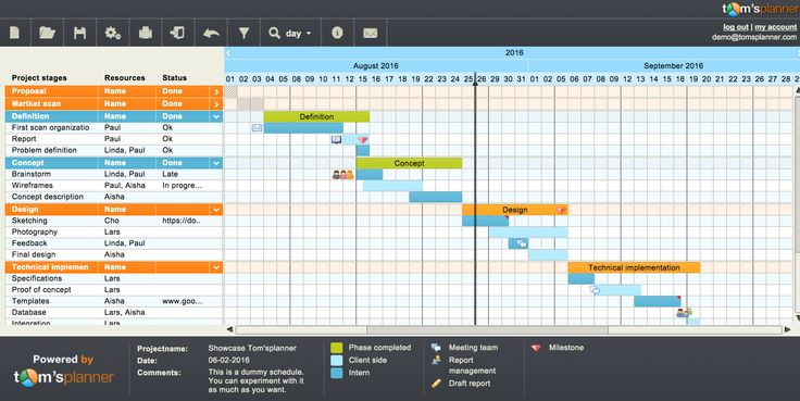 Tom's Planner allows you to store, share and manage your Gantt charts online. It offers you an easy and secure way to share and collaborate on Gantt charts with your clients or your team from any computer (Mac, Windows or Linux) with an Internet connection and modern browser (Chrome, Firefox, Safari, Internet Explorer). You can also manage your Tom's Planner projects on-the-go by using an iPad, iPhone or an Android device. No app is required. #Collaboration #Tool #Online