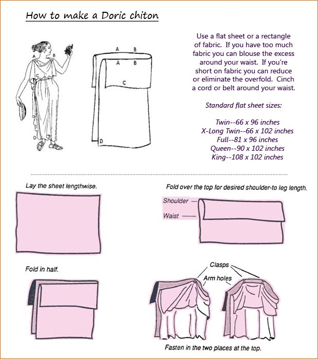 How to Make A Doric Tunic (Standard garb from The Levant to Hadrian's Wall from the start of writing and history keeping up through the fall of Rome/Dark Ages).  Celts favored plaids. Colors in plaids identified different clans. In the Mediterranean, purple was mostly reserved for royalty (due to expense of dye...and sometimes law).  From www.takebackhalloween.org