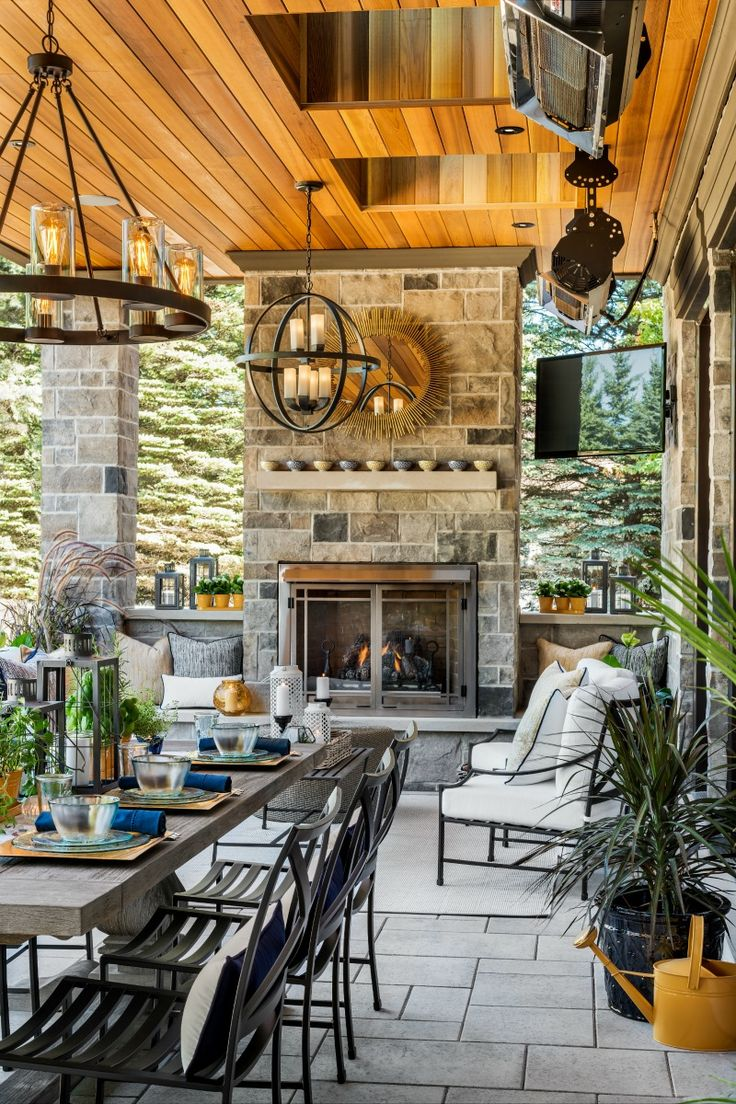 hgtv star scott mcgillivrays backyard patio has a gas fireplace as well as heaters to keep - Backyard Entertaining Ideas
