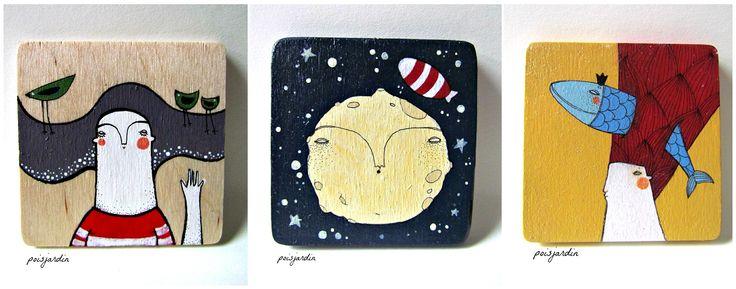 Handpainted wooden fridge magnets made by poisjardin.
