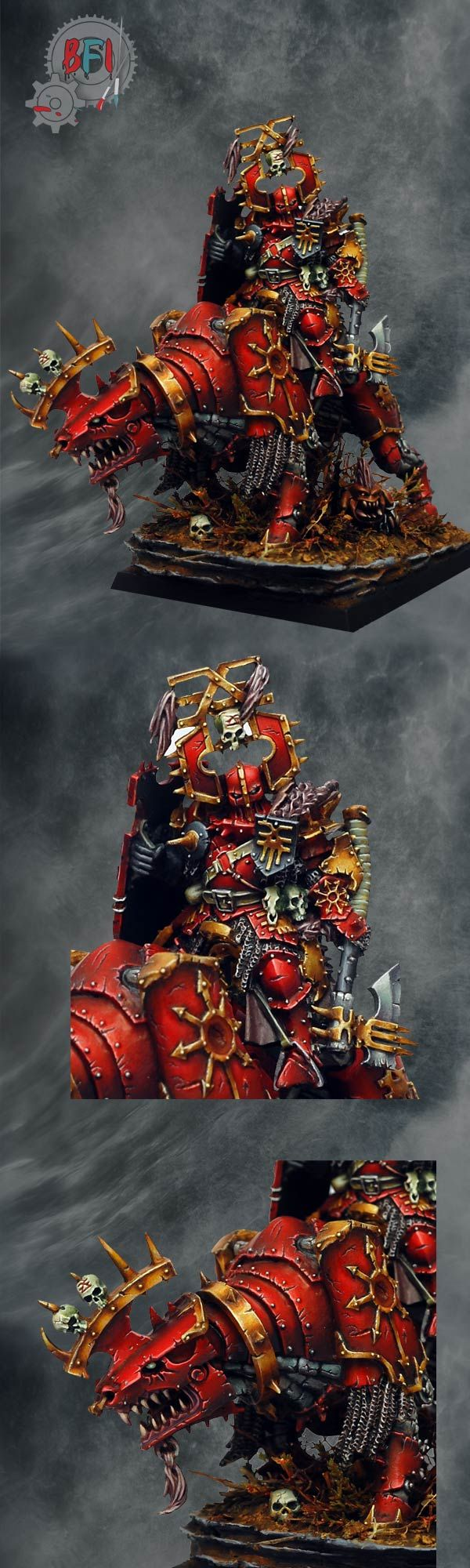 Awesome paint job on a Chaos Lord of Khorne.