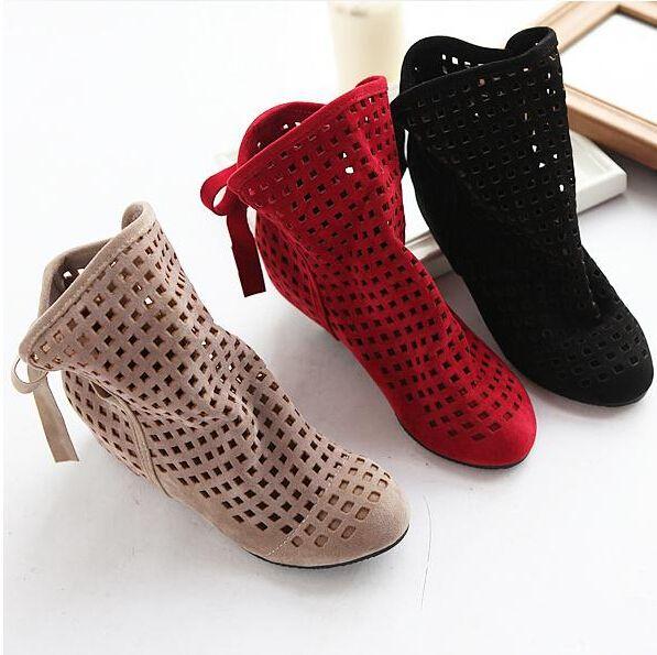 Большой размер 34-43 корейских женщин летние сапоги квартиры низкого скрытые клинья вырез с с бантом ботильоны дамы платье свободного покроя обувь