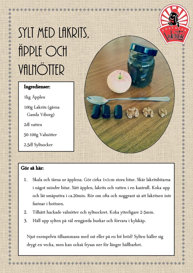 Sylt med lakrits, äpple och valnötter! MUMS!
