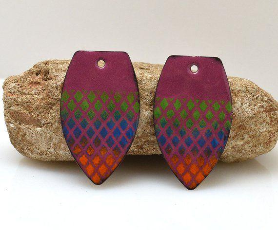 copper earrings enameled copper copper jewelry boho earrings jewelry component enameled jewelry Enameled copper jewelry making