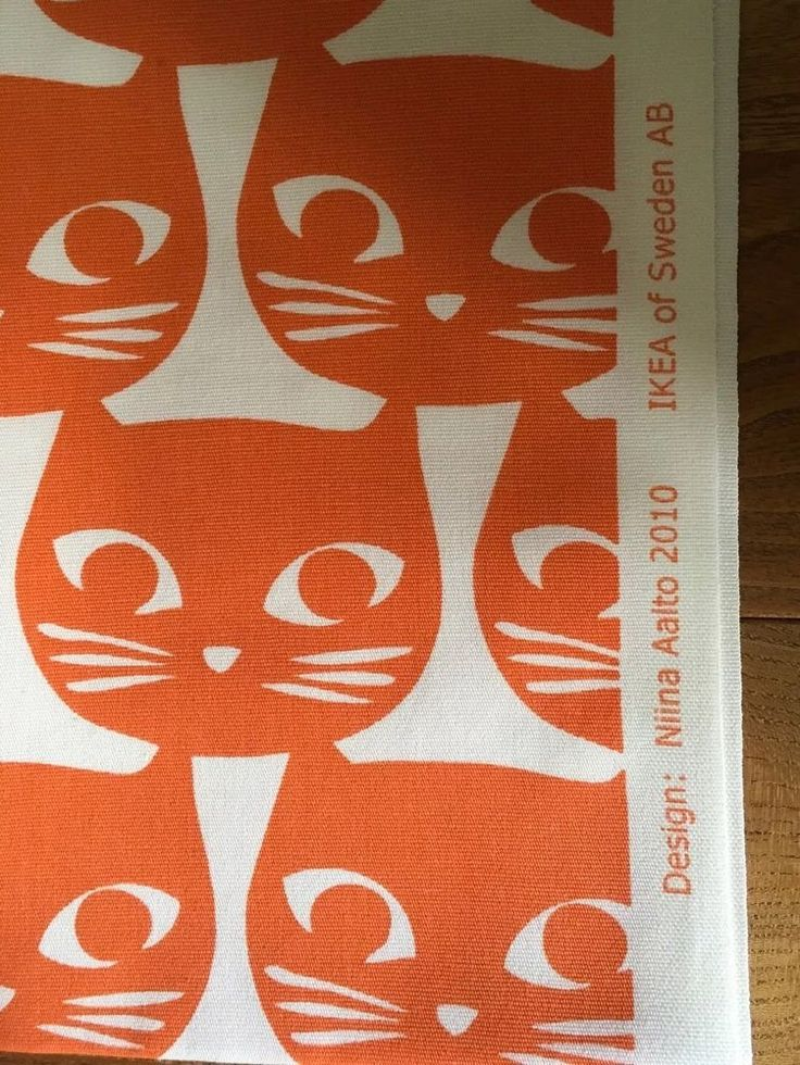 1m Retro Ikea Ginger Cat Fabric Vtg 60s Style Graphic Cotton Curtain Material Ebay Ikea - Stoffe Ikea Design
