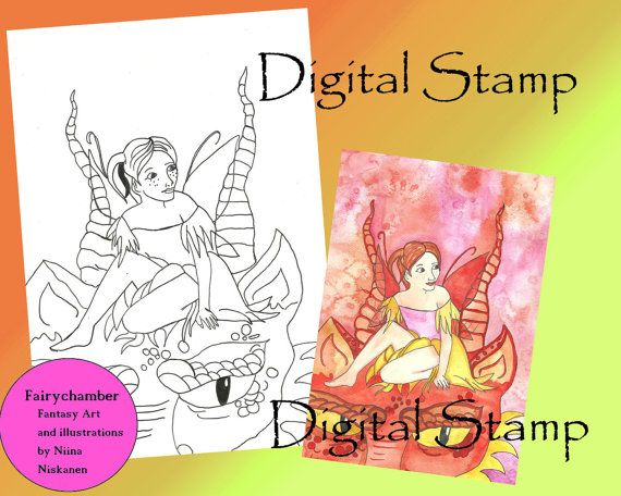 Dragontamer Fairy  Instant Download  Digital Stamp by fairychamber