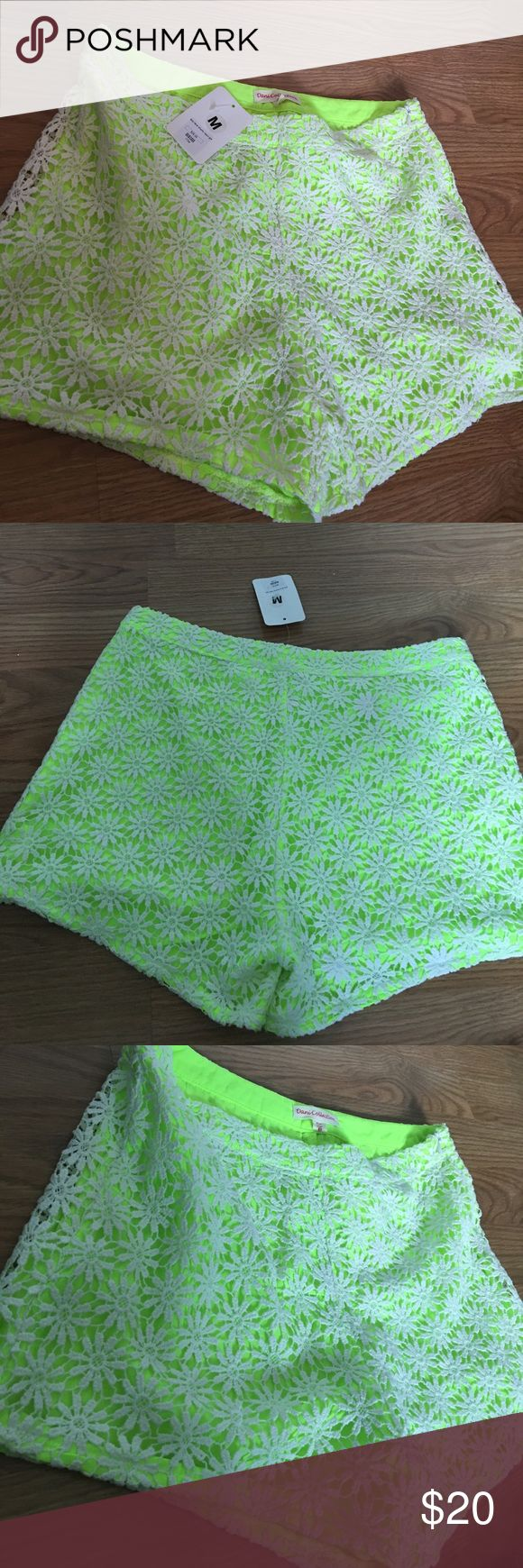 Brand new floral high/mid waist shorts Lime green shorts with floral lace overlay never worn dani collection Shorts