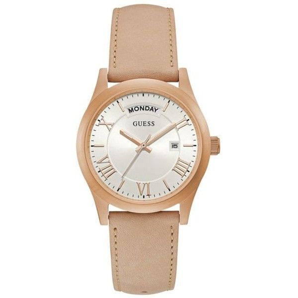 Guess  Rose Gold-Tone And Tan Leather Watch (370 PEN) ❤ liked on Polyvore featuring jewelry, watches, rose gold, leather watches, leather wrist watch, rose gold tone watches, fancy watches and dial watches