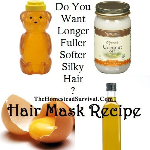 Combine: 1 tsp. honey 2 tsp. olive oil 1 -2 tsp. coconut oil 1 large egg Massage into dry hair with your fingertips ( boosts circulation to the scalp ) Let it soak in nourishing your hair for at least 10 to 15 minutes… longer the better Shampoo your hair as you normally would and finish with your favorite conditioner