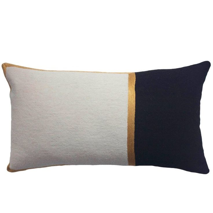 Modern Nicole Ivory/Ebony Hand Embroidered Wool and Metallic Throw Pillow Cover | 1stdibs.com
