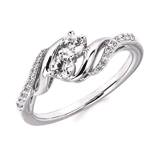 1/3 Ctw Diamond Two-stone fashion ring in 14k Gold
