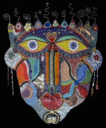 """Mask on Black"" - by Irina Charny. Please ask her permission before pinning. Her website is www.icmosaics.com"