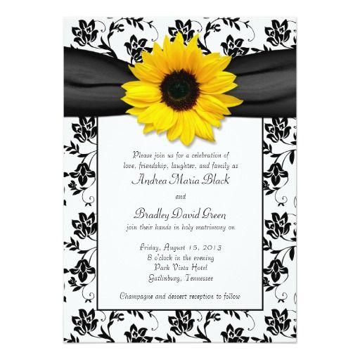 Black White Damask Sunflower Wedding Invitation