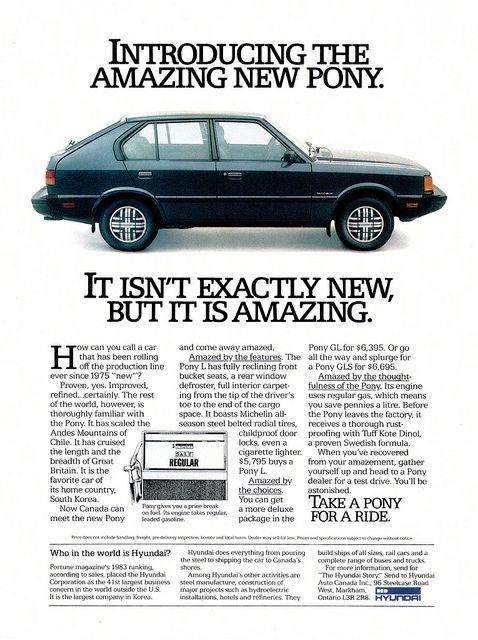 #1984 Hyundai #Pony ad