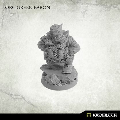 This set contains one resin Orc Green Baron pilot miniature with plastic 25mm base. Designed to fit 28mm heroic scale wargames. Resin base from pictures is not included