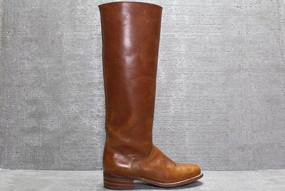 Vtg 70s FRYE Brown Leather Horse Riding Equestrian Knee High Boots 6--love these