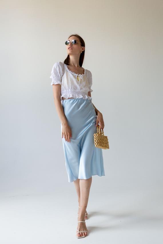 Silk Slip Skirt Midi Baby Blue Silk Satin Skirt Silk Slip Bias Etsy Silk Satin Dress Slip Skirts Silk Slip Dress