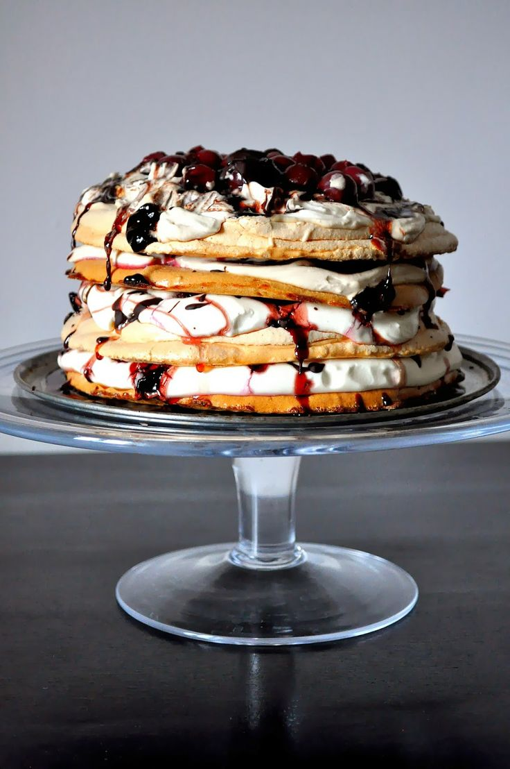 A decadent dessert: Coffee Pavlova with sour cherries