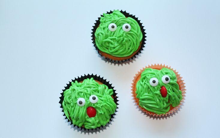 Groene cupcake monsters en een spin!