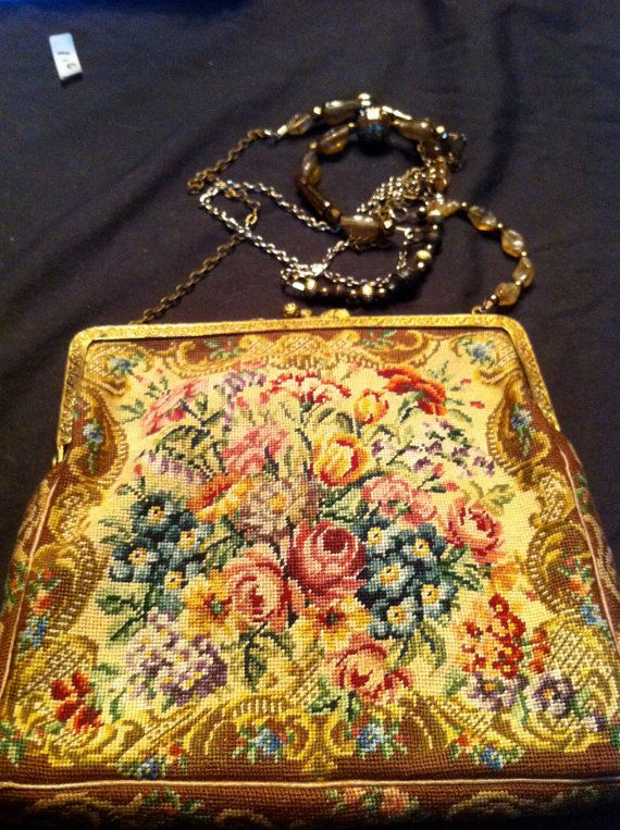 Beaded chain. ALady.Petit Point Austrian Evening Bag by Questers on Etsy, $225.00