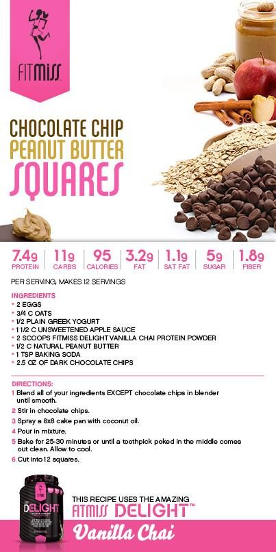 Chocolate Chip Peanut Butter Squares featuring Vanilla Chai Delight! #FitMiss #Recipe Purchase Delight HERE: http://www.fitmiss.com/store