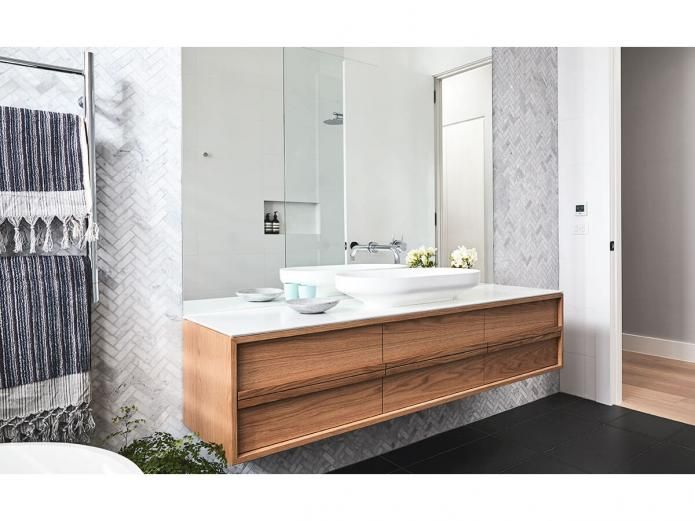 Black and white palette. The feature this vanity in Oak, ISSY Z8 Butterfly 1500 Vanity Unit
