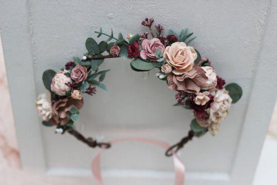Burgunder staubige Rose erröten rosa Blumenkrone Eukalyptus Blumenstirnband Braut Haarkranz Hochzeit Halo Mutterschaft Blumenmädchen Brautjungfer Krähe   – RIALTO THEATRE