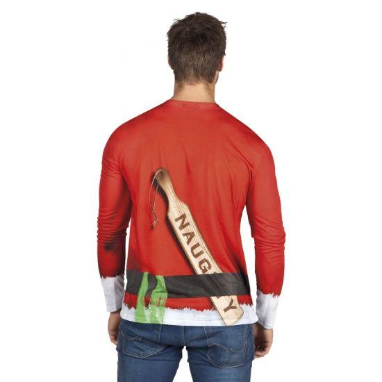 Kerst shirt met lange mouwen met een fotoprint aan beide zijden van een asociale kerstman. Materiaal: 100% polyester.