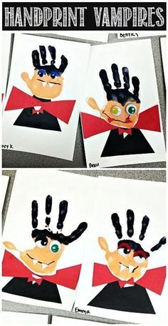 Das können auch schon Kita und Kindergarten Kinder: Halloween Bastelidee mit Handabdrücken, die sich in kleine Vampire verwandeln. ***Handprint Vampire Halloween Craft for Kids #Dracula | http://CraftyMorning.com