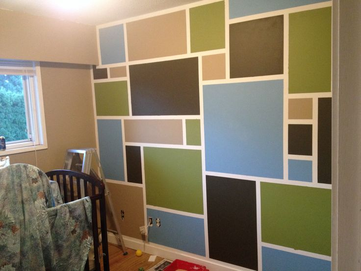 Nursery accent wall. Behr paint harvest brown, chocolate cupcake, frog, and frisky blue. About 4-5 hours start to finish. Taped using a level and frog tape. There was bleed through, but is easily touched up with white paint and a small foam brush. I'm very happy with Liam's feature wall.